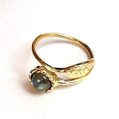 Adjustable dainty thin leaf golden brass labradorite ring Gemstone ring stacking botanical ring - Gone with the wind -