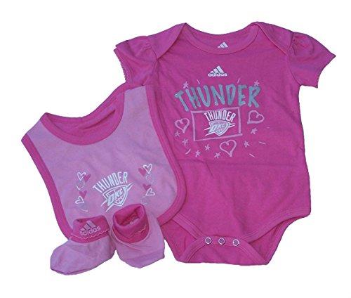 Girl Pink Onesie Bib Booties (Adidas Oklahoma City Thunder Infant Girl's Size 18 Months 3 Piece Creeper Set NBA Authentic Pink Hearts & Stars Print Bodysuit - Onesie / Bib / Booties)