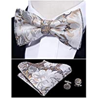Barry.Wang Bow Tie Set Silk Paisley Tie Pocket Square Cufflinks Pre-tied Fashion Necktie Wedding