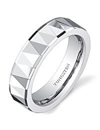 Faceted Polished Finish 5mm Womens White Tungsten Wedding Band Ring Available in Sizes 5 to 8