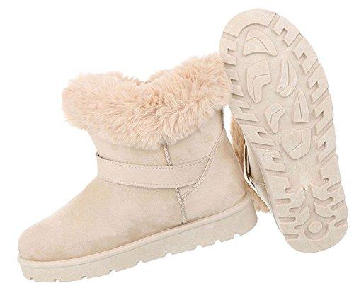 Damen Schuhe Stiefeletten Warm Gefütterte Boots Beige
