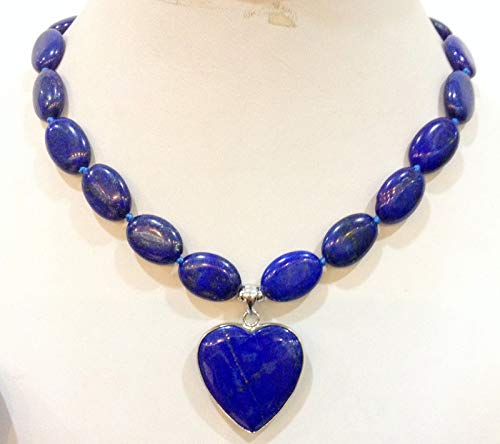 New13x18mm Natural Lapis Lazuli Oval Love Pendant Necklace 18 ()