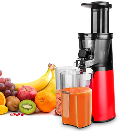 Homevolts Slow Juicer Red Compact Masticating Juicer with Cold Press and Quite Motor for Fruit