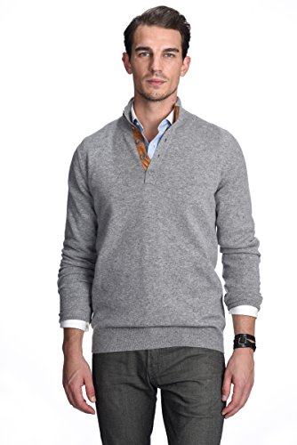 State Cashmere Men's 100% Pure Cashmere Button Mock-Neck Polo Collar Sweater Pullover (Medium, Heather Grey)