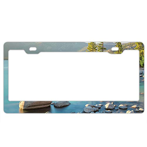 Bchengquch Personalized Novelty Front License Plate Covers Custom Vanity Decorative Aluminum Car Tag Pastoral Spring Time Scenery in Provincial Countryside Lake
