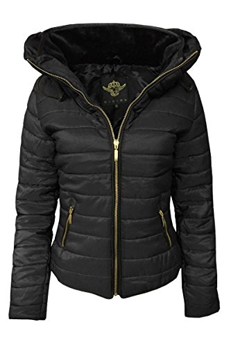 Girl Talk Clothing Womens Padded Quilted Puffer Bubble Fur Collar Jacket (Quilted Bubble Jacket)