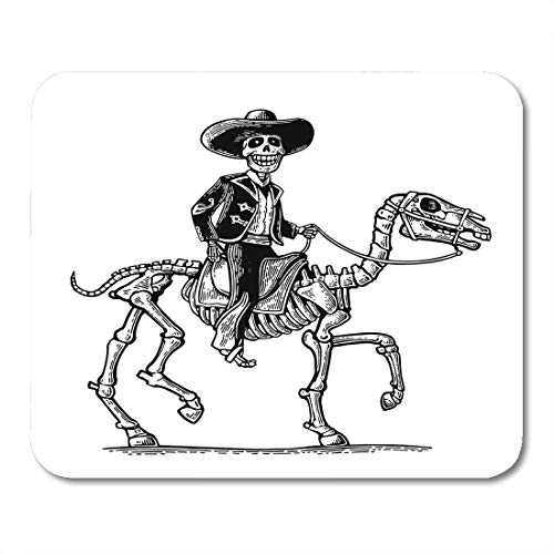 Emvency Mouse Pads The Rider in Mexican Man National Costumes Galloping on Skeleton Horse Dia De Los Muertos Vintage Mousepad 9.5