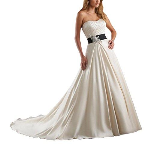 Oberteil GEORGE Line geraffte Empire Perlen Hochzeitskleider A Liebsten Schatz Brautkleider SpitzeAppliques Taille BRIDE mit Elfenbein 4rp4wqx8