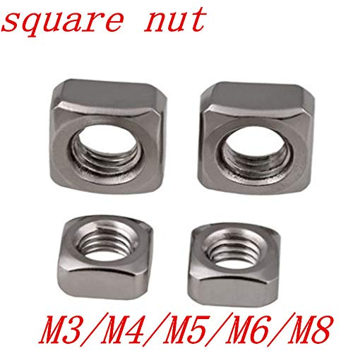 M3 M4 M5 M6 M8 DIN557 Stainless Steel Square Nut m8 10pcs by Nuts Clamping