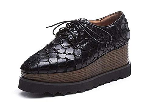 Tacón Punta Casuales De Cuña Plataforma Alto Negro Negro Tamaño Con 36 8cm color Hhgold Zapatos Mujer Cuadrada WRqpYczyw