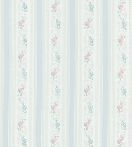 Floral Wallpaper Mirage (Brewster 979-51105 Mirage Cameo Rose IV Acanthus Floral Stripe Wallpaper, 20.5-Inch by 396-Inch, Blue)
