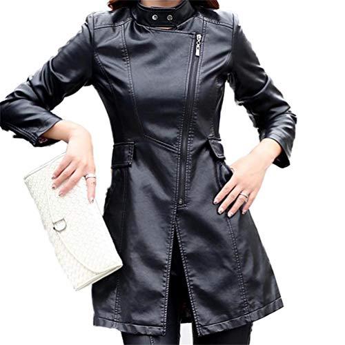 Faux Manches Femmes Qixuan 1 Manches Veste Longues Longues Casual Longues Noir Cuir Zipper Manteaux 16xqHBx