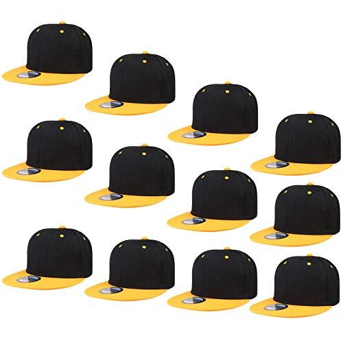 Falari Wholesale 12 Pack Snapback Hat Cap Hip Hop Style Flat Bill Blank Solid Color Adjustable Size (One Size, 12-Pack Black/Gold)