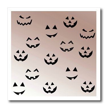 3dRose ht_123453_3 Pumpkin Faces Fun Halloween Art Iron on Heat Transfer for White Material, 10 by 10-Inch (Halloween Pumpkin Faces Pics)