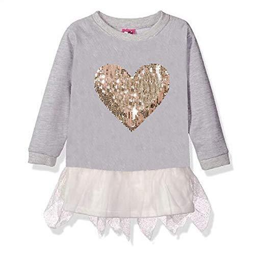 Golden Long Sleeve - VIKITA Toddler Girl Long Sleeve Shiny Sequin Golden Heart Dress Baby Girls Winter Birthday Dresses Great Gift (5T, LH4566)