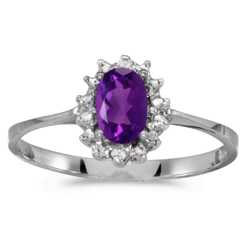 10k White Gold Oval Amethyst And Diamond Ring (Size 6)