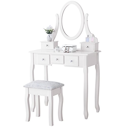 Mecor Vanity Table Set with Oval Mirror/ 5 Drawers,Wood Makeup Dressing Table w/Cushioned Stool White
