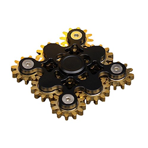 Price comparison product image Markkeer The Anti-Anxiety 9 Gear 360 Spinner Helps Focusing Fidget Toys Premium Quality EDC Focus Toy for Kids & Adults black