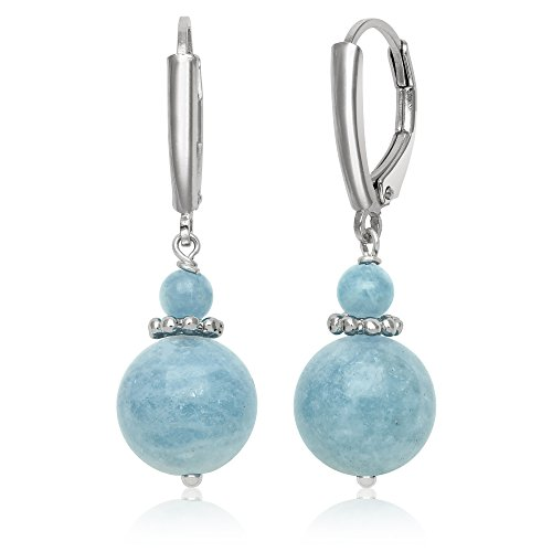 Sterling Silver Natural Milky Aquamarine Beaded Gemstone Drop Dangle Earrings