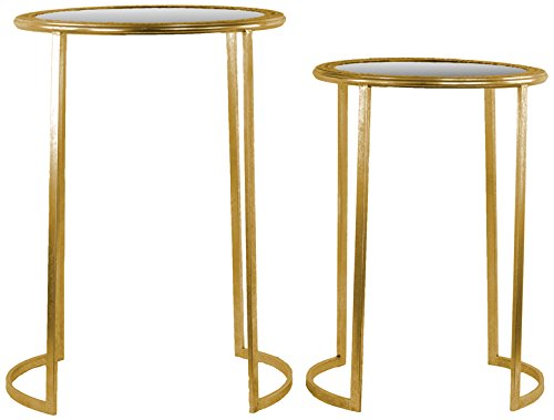 (Urban Trends Round Table Beveled Mirror Pierced Metal Frame Top Metal Finish (Set of 2), Gold)