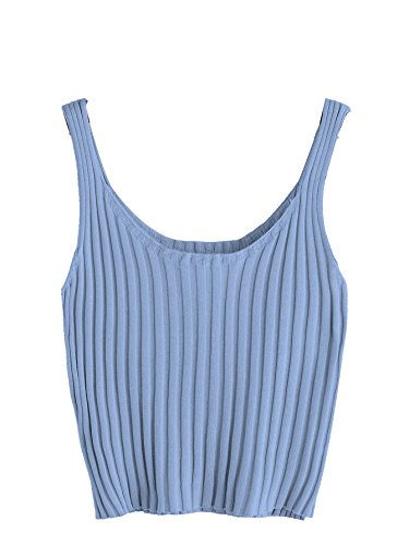 (SweatyRocks Women's Ribbed Knit Crop Tank Top Spaghetti Strap Camisole Vest Tops Blue S)