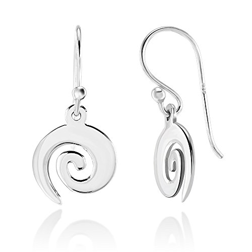 (925 Sterling Silver Spiral Dangle Earrings for Girls)
