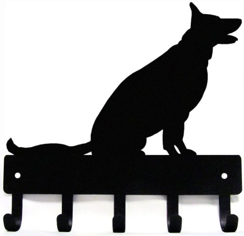 German Shepherd Leash Hook - German Shepherd Sitting - Key Rack & Dog Leash Hanger - Large 9 inch