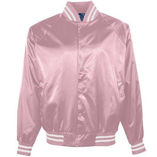 610 Men's Satin Baseball Jacket/Striped Trim, Medium, Light Pink/White ()