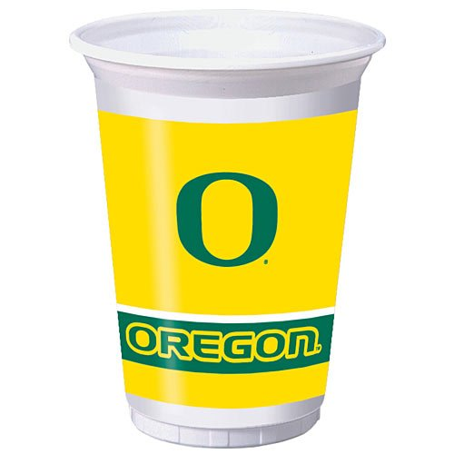 8-Count 20-Ounce Printed Plastic Cups, Oregon (Oregon Ducks Party Supplies)