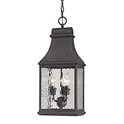 Elk Lighting 47074/3 Forged Jefferson Collection 3 Light Outdoor Pendant, Charcoal