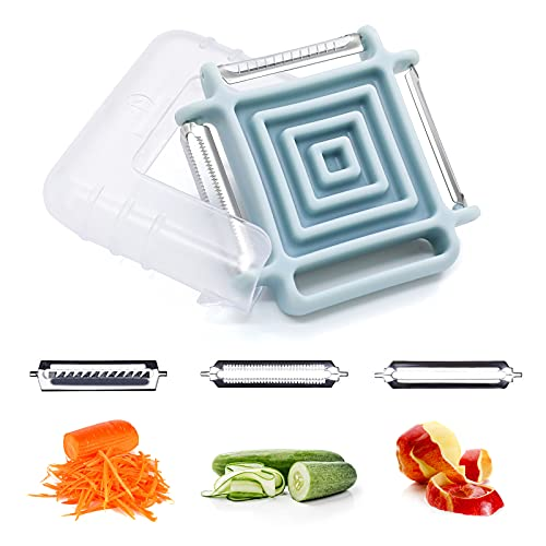 Portable Switchable Peeler, 3 in 1 Multifunctional Kitchen Peeler, Stainless Steel Peeler for Fruit, Vegetable Kitchen Peeling Tool with Straight/Serrated/Julienne Blade…