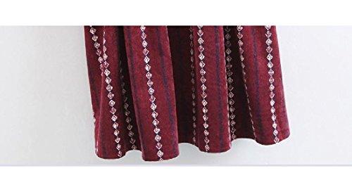 Confortables Femmes Col V Taille Plus Tendance À Manches Longues Mini-robe Casual Vin Rouge
