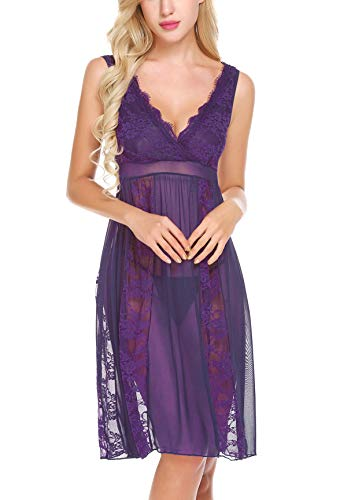 (Avidlove Women Sexy Long Lace Lingerie Nightdress Sheer Nightgown Chemise,X-Large,Purple)