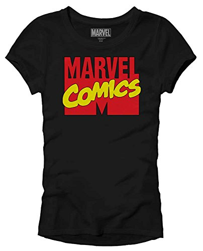 Marvel Comics Logo Avengers X-Men Superhero Super Hero Adult Women's Juniors Slim Fit Graphic Tee T-Shirt (Black, Small) for $<!--$11.99-->