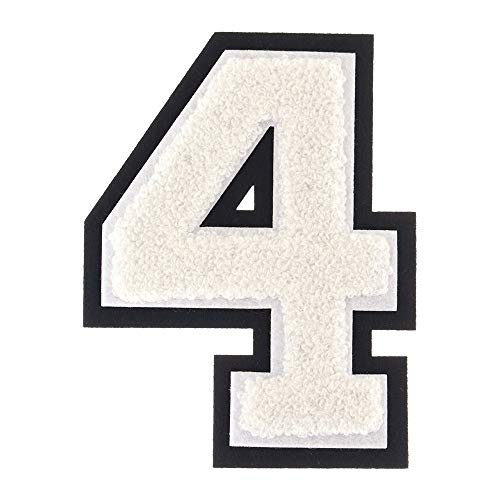 4 - White - 4 1/2 Inch Heat Seal/Sew On Chenille Varsity Number