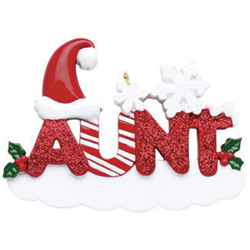 Personalized Aunt Christmas Tree Ornament 2019 - Snowy Glitter Word Holly Santa Hat Snowflake World's Greatest Friend Love Tradition Special Forever Memory Candy Cane - Free Customization