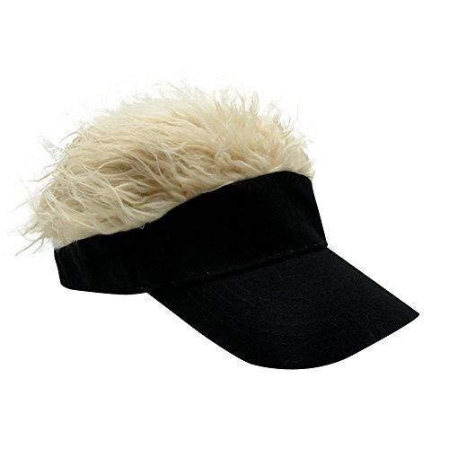 Oberora Novelty Sun Visor Cap Wig Peaked Adjustable Baseball Hat with Spiked Hair (Black-Golden) -