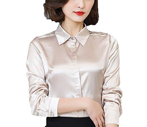 Satin Silk Blouse (YOUMU Women Satin Silk Long Sleeve Button-Down Shirt Formal Work Silky Blouse Top)