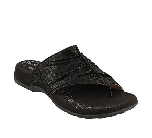 Taos Footwear Women's Gift 2 Black Printed Leather Sandal 7 B (M) (Black Printed Leather)
