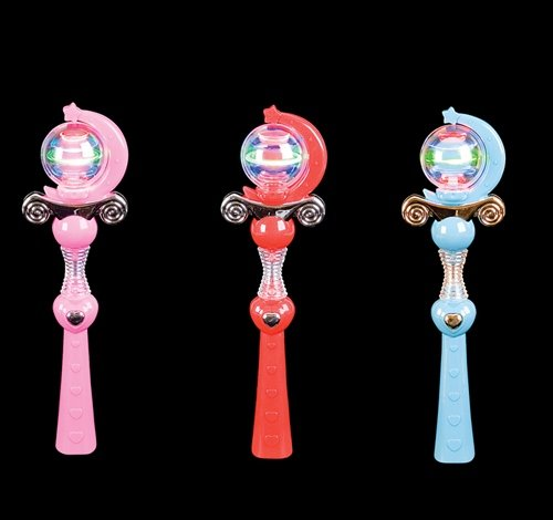 11'' LIGHT-UP SPINNING PRINCESS WAND, Case of 48 by DollarItemDirect