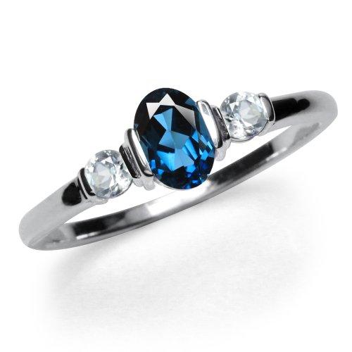 3-Stone Genuine London Blue & White Topaz 925 Sterling Silver Ring Size 5 ()