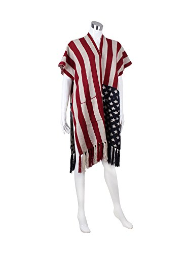 Old Glory American Flag Knitted Ruana Open Front Poncho with Tassels and Pockets