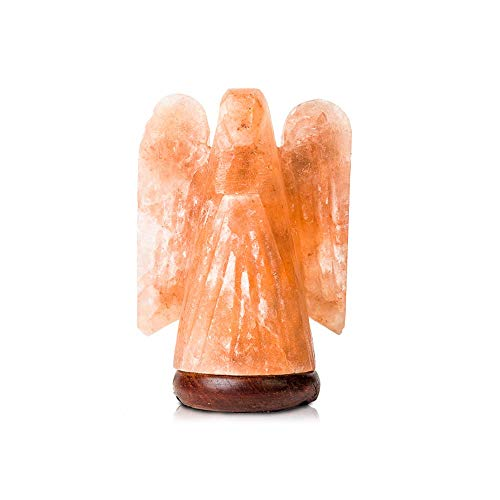 VMInnovations Salacia Himalayan Carved Angel-Shaped Salt Lamp Light with Dimmer, Pink