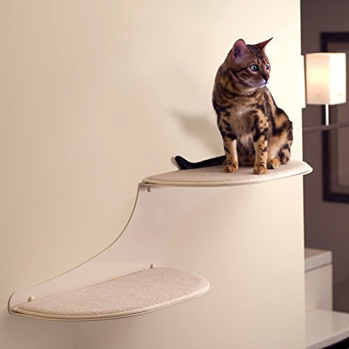 Cat Clouds Cat Shelf - Off White - Right facing by The Refined Feline
