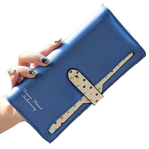 Fashion Women¡äs Soft Leather Bowknot Clutch Wallet Long PU Card Purse Lovely Handbag(Blue)