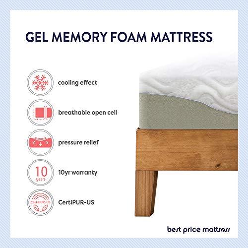 "Best Price Mattress 11"" Gel Infused Memory Foam Mattress Queen Size, White"