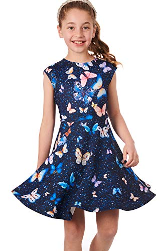- Truly Me, Little and Big Girls' Skater Scuba Dress with One-of-A-Kind Butterfly Artwork and Rhinestone Embellishments, 4-10 (Navy Butterfly, 8)