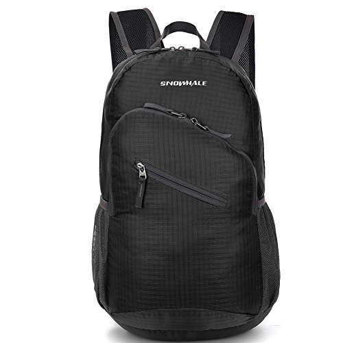 SNOWHALE Packable Handy Lightweight Travel Backpack Water Resistant Daypack 0713 (Black)