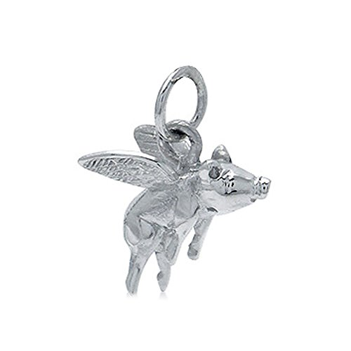 925 Sterling Silver FLYING PIG Charm/Pendant