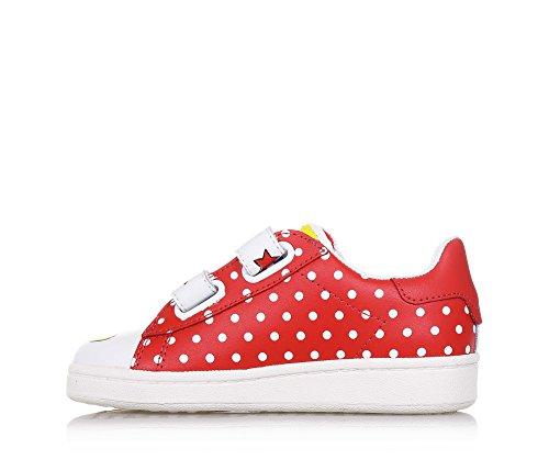 MOA - Weiß-roter Schuh aus Leder, mit doppeltem Klettverschluss, mit getupftem Muster und Dekorationen, Jungen